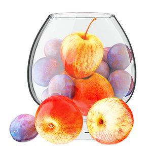 apples plums glass vase 3D