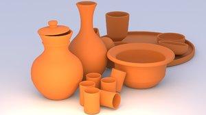 3D clay pots plates