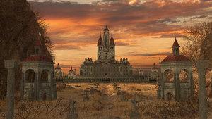 3D model castle sunset fantasy