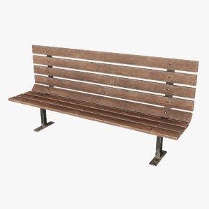 3D model old park bench