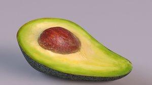 3D avocado slice fruit