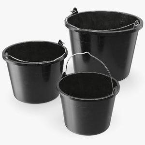 3D construction buckets set model