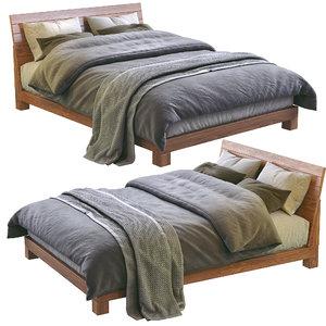 dondra teak queen bed 3D model
