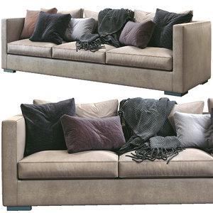 3D meridiani leather sofa belmon model