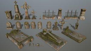 skull tombstone 3D model