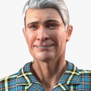 3D elderly man homewear rigged