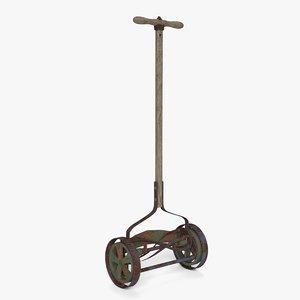 vintage push reel mower 3D