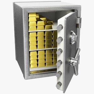 3D safe lock gold