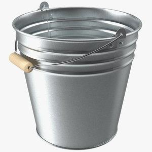 antique steel bucket wood 3D model