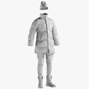 3D mesh men s coat model