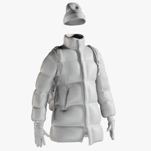 3D model mesh men s coat
