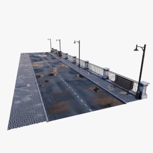 realistic city street wet 3D model