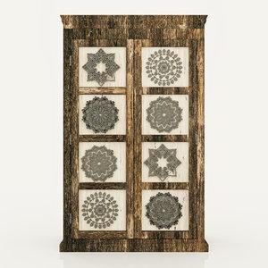 3D wardrobe old wood mandala model
