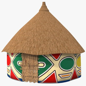 traditional african hut painting 3D