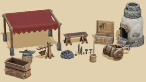 15 stylized medieval props 3D model