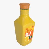 Orange Juice Jug Bottle with Professionally Designed Art 52oz.