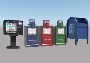 low-poly newspaper box post 3D
