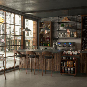 coffeeshop equipment british american 3D