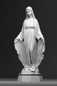 virgin mary statue 3D model