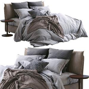 twils leather bed blanca 3D model