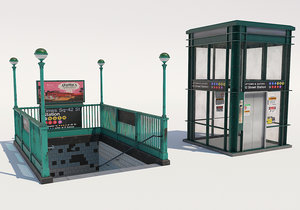 subway entrance nyc low-poly 3D model