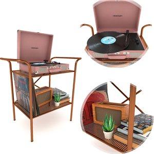 crosley vinyl stand records 3D model