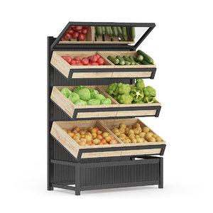 3D model market shelf vegetables supermarket