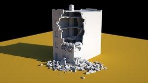 building destroyed walls 3D model