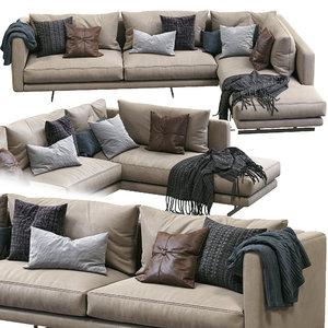 dee leather sofa berto 3D model