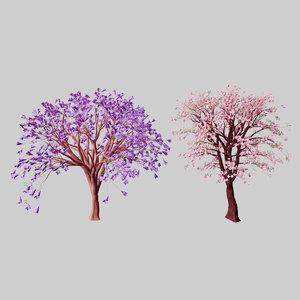 3D trees blossom jacaranda cherry