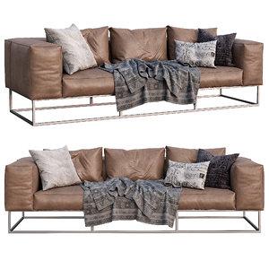 3D livingdivani leather sofa ile