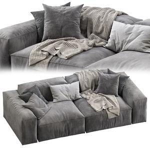 3D livingdivani sofa extra wall model