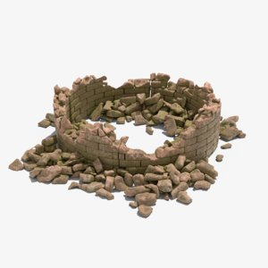 destructed concrete 3D