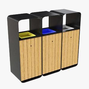 3D bins outdoor recycling - model