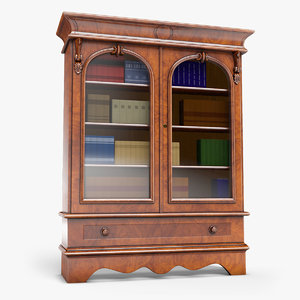 3D victorian wallnut bookcase model