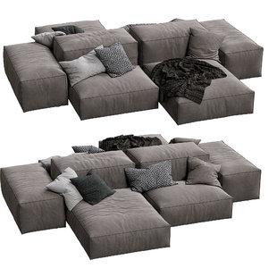 3D model livingdivani sofa extra wall