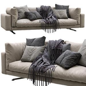 livingdivani leather sofa floyd 3D model