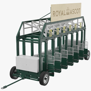 3D model horse racing starting gates