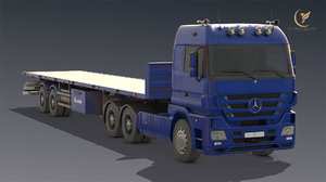 low-poly mercedes actros truck 3D model