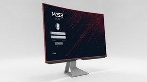 3D designed computer monitor screen model