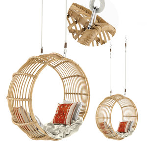 3D rattan swing chair natural model