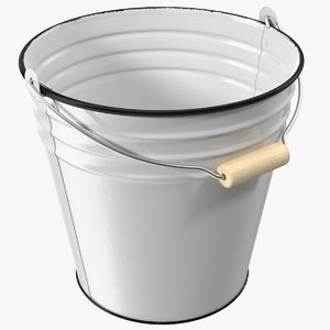 3D antique enamel bucket wood