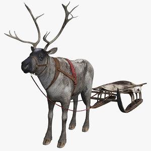 poles reindeer 3D
