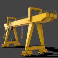 PBR Double Girder Gantry Crane V2 - Yellow Light