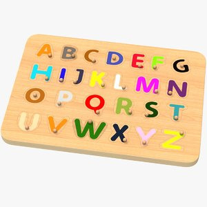 wooden alphabet peg puzzle 3D model