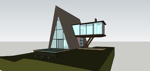 3D model frame house modern architecture