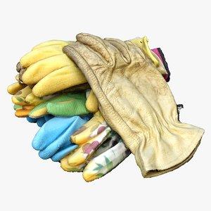 pile gardening gloves 3D model