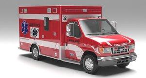3D model e450 ambulance 2001 modeled