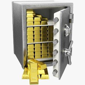 safe lock gold 3D model