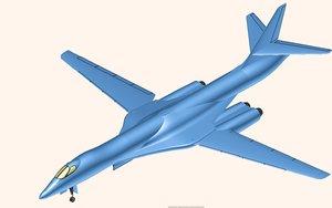 3D model b-1b bomber aircraft solid